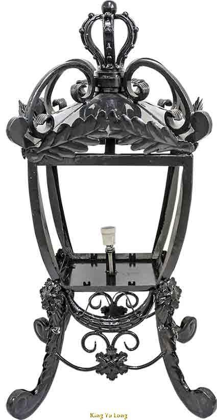 KYL-TL149 鍛造立式柱頭燈(W417xH700mm) 含熱浸鍍鋅+烤漆+上色,含燈座+配線+玻璃燈罩